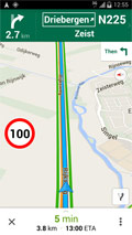 Android phone running Maps Speed Limits with round traffic sign indicating speed limit