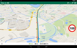 Android tablet running Maps Speed Limits with round traffic sign indicating speed limit